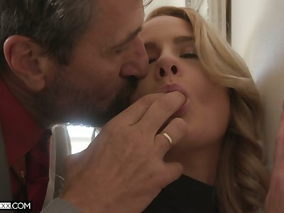 Sex-hungry teen Lisey Sweet can't resist sucking big hard dick of horny step daddy