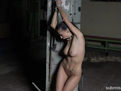 Nicole Love is tied in the basement waiting for new sex experience