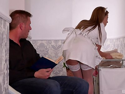Maid Athina Love shares a cock and swap cum with slutty Yasmin Scott