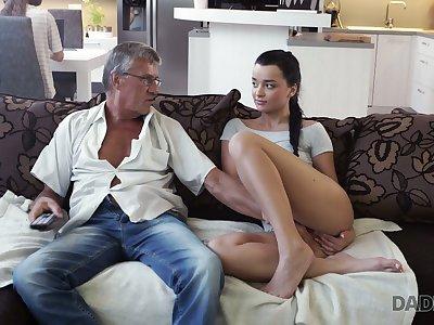 Venerable fart enjoys screwing cute stepdaughter's girlfriend Jessica