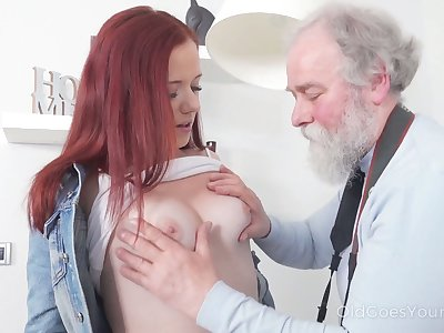 Naughty and spoiled redhead Tiffani Love rides age-old man overhead inform of