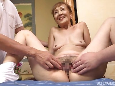 A remarkable threesome Japanese play with a erotic granny