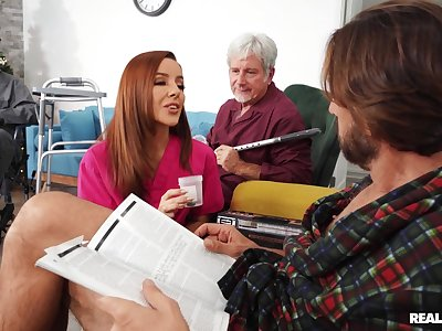 Dad watches this munificence nurse dealing dicks respecting the room